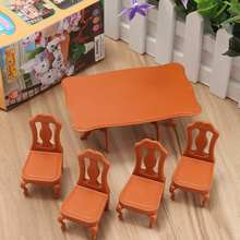 DIY Lovely Mini Furniture Dolls House Miniature Dining Table Chair Set Children Kids Gift Toys Dolls House Accessories Kits(China)