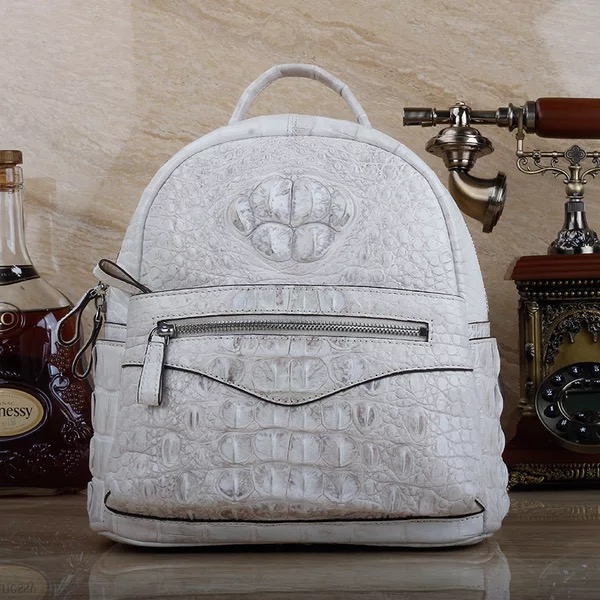 Authentic Crocodile Skin Zipper Closure Female Lady Small White Backpack Genuine Real Alligator Leather Womens Travel BackpackAuthentic Crocodile Skin Zipper Closure Female Lady Small White Backpack Genuine Real Alligator Leather Womens Travel Backpack