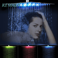 KEMAIDI 8 12 16 20 24 Inch LED Rain Shower Head Black Stainless Steel Rainfall Shower Head Bathroom Ultra thin Shower Head