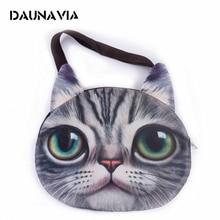 DAUNAVIA cute 3D cat face female handbag Messenger bag animal canvas shoulder bag face zipper MR.CAT makes you more lovely