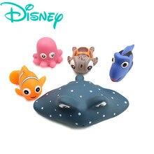 Купить с кэшбэком Disney 5pcs Cartoon Soft Rubber Water Spraying Antistress Squeeze Sound Dabbling Finding Nemo Bath Baby Toys For Newborns
