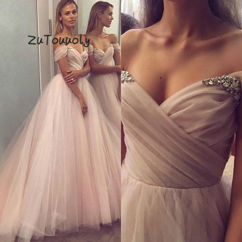 Chic Light Pink Off Shoulder Junior Prom Dresses A Line Tulle Crystal Long Evening Dress 2019 Plus Size vestido gala largo