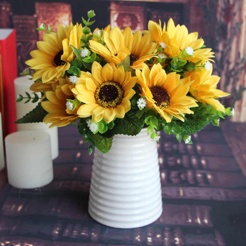 Lucu 1 Ikat 7 Kepala Bunga Matahari Sutra Buatan Buket Bunga untuk Rumah Pernikahan Dekorasi Ruang Tamu Meja Pesta Dekorasi Jendela