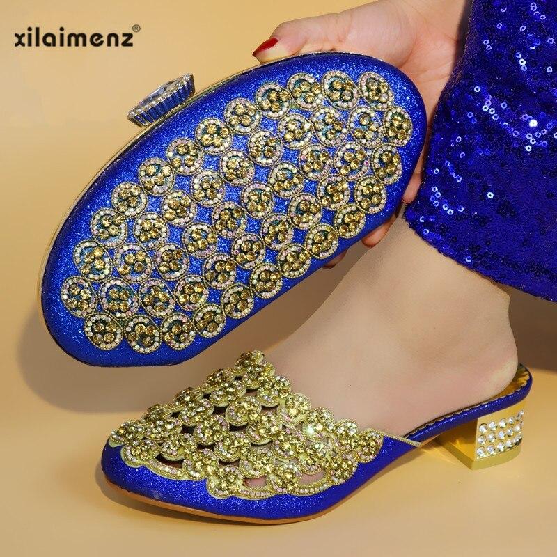 royal Mujeres Fiesta Zapatos Juego De Con Y Color Bolsos Nigeria Dorado Black Las Italia gold A Blue Africanas Deslizador red Bolso vqx8Tw1