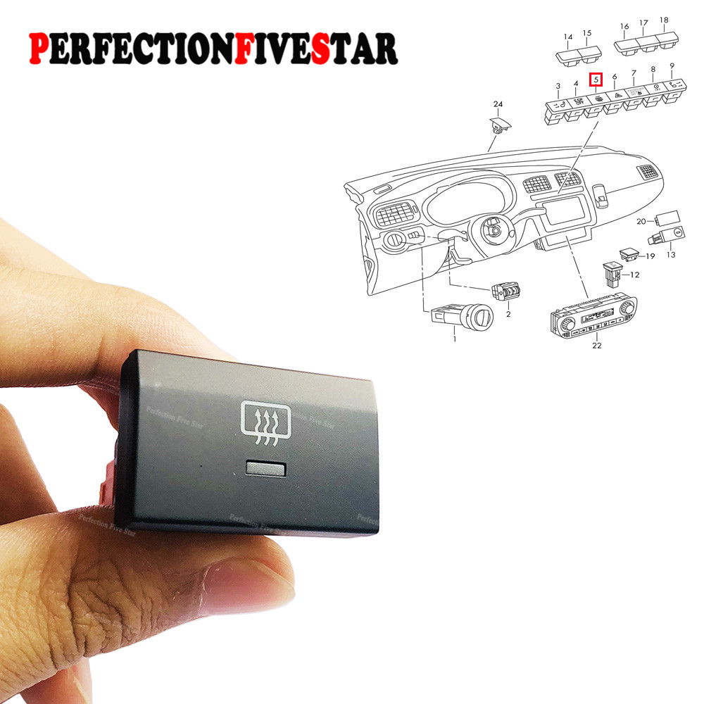New Heated Rear Window Glass Demister Switch Button For VW Polo 2010 2011 2012 2013 2014 2015 6R 6R0959621 6RD959621