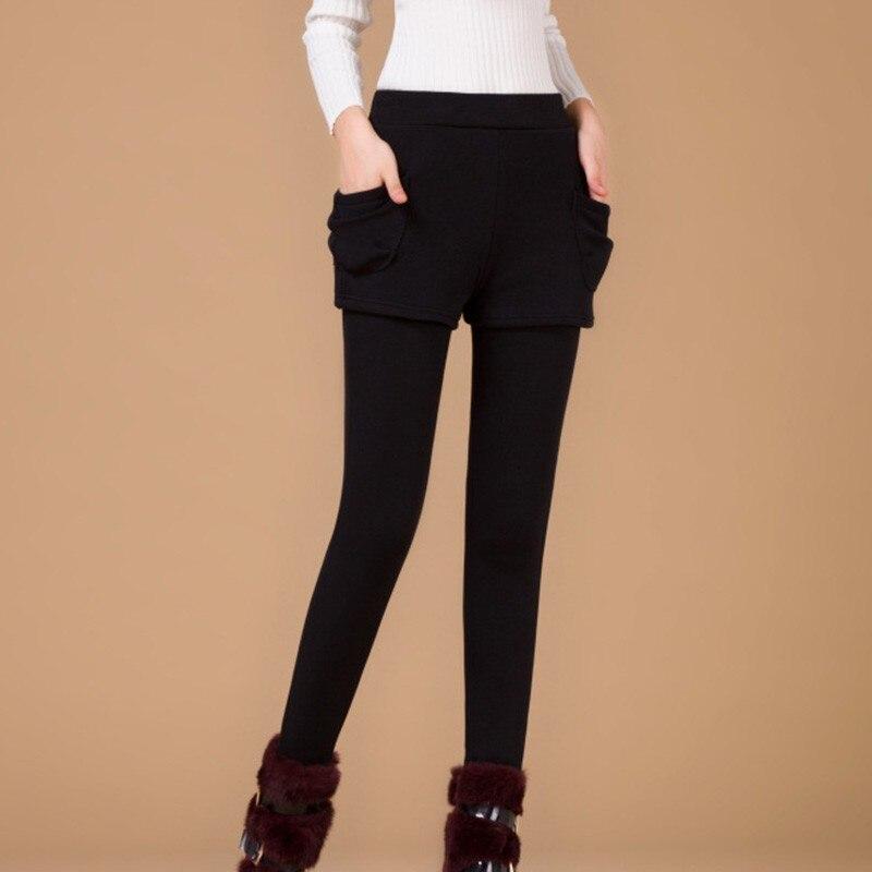 2020 Winter Autumn Fashion Leggings pocket Thicken warm Solid Skinny Legging Fake Two Pieces set Pencil Pants Plus Size