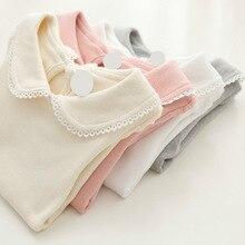 Cute Cotton Girls T-shirts Long Sleeve T-Shirt for Girl Turn Down Collar Toddler Girl Shirts Children 's Lace Bottoming T-Shirt