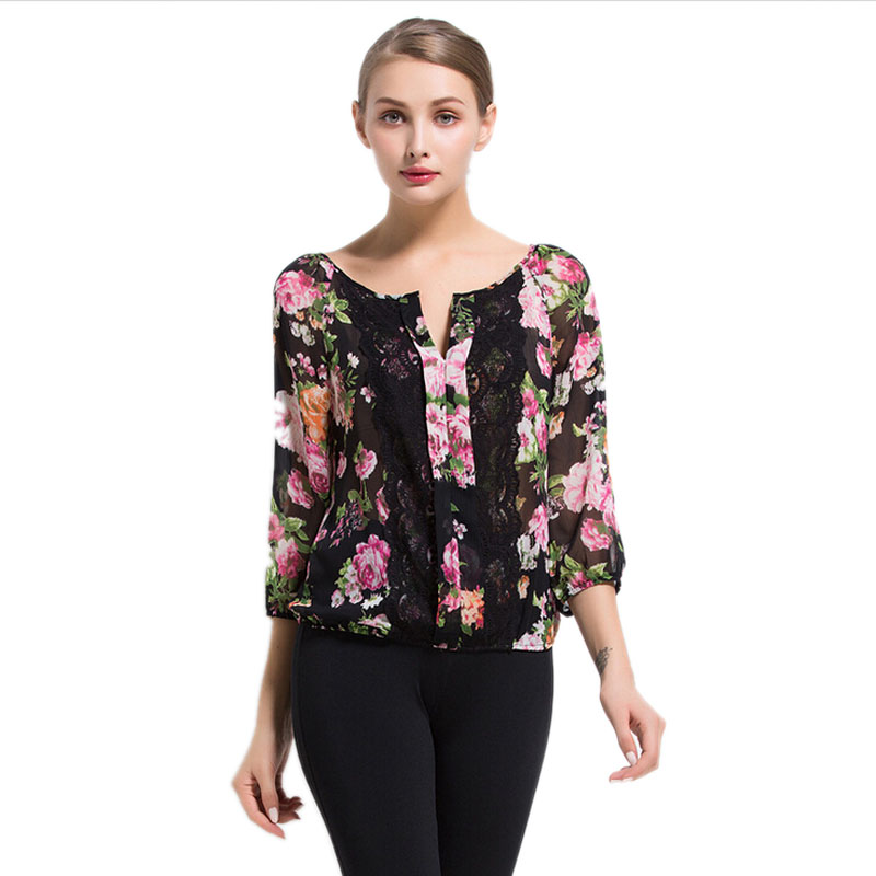 Summer Women Rose Printed Blouse Summer Sexy Tops Casual Shirts Lace Chiffon Blouses Shirt Blusas y Camisas Mujer Chemise Femme