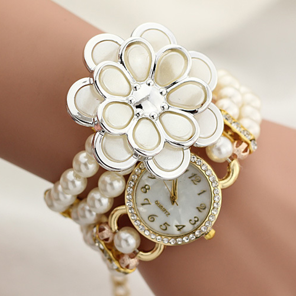 Hot sale luxury with resin white pearl bracelet flower pendant quartz watch women dress watch montre 2017 female feminine clock old antique bronze doctor who theme quartz pendant pocket watch with chain necklace free shipping