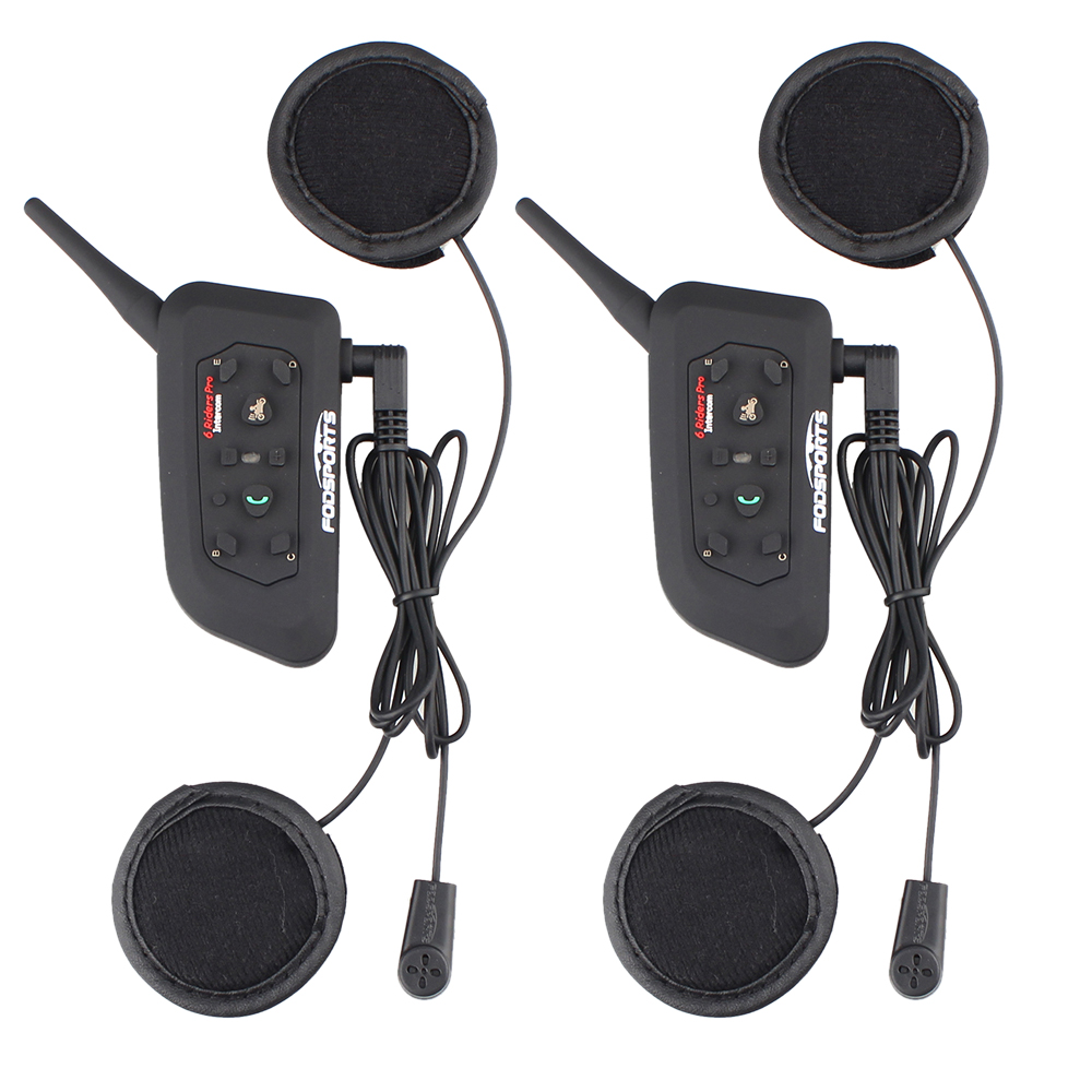 2017 New Soft Earphone! 2 Pcs V6-1200 Pro Motorcycle Helmet Bluetooth Headset Intercom For 6 Riders BT Interphone Stereo Music