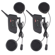 2017 nuevo soft auricular! 2 unids V6-1200 Pro motocicleta casco auricular bluetooth Intercom para 6 riders Interphone de BT Estéreo de música