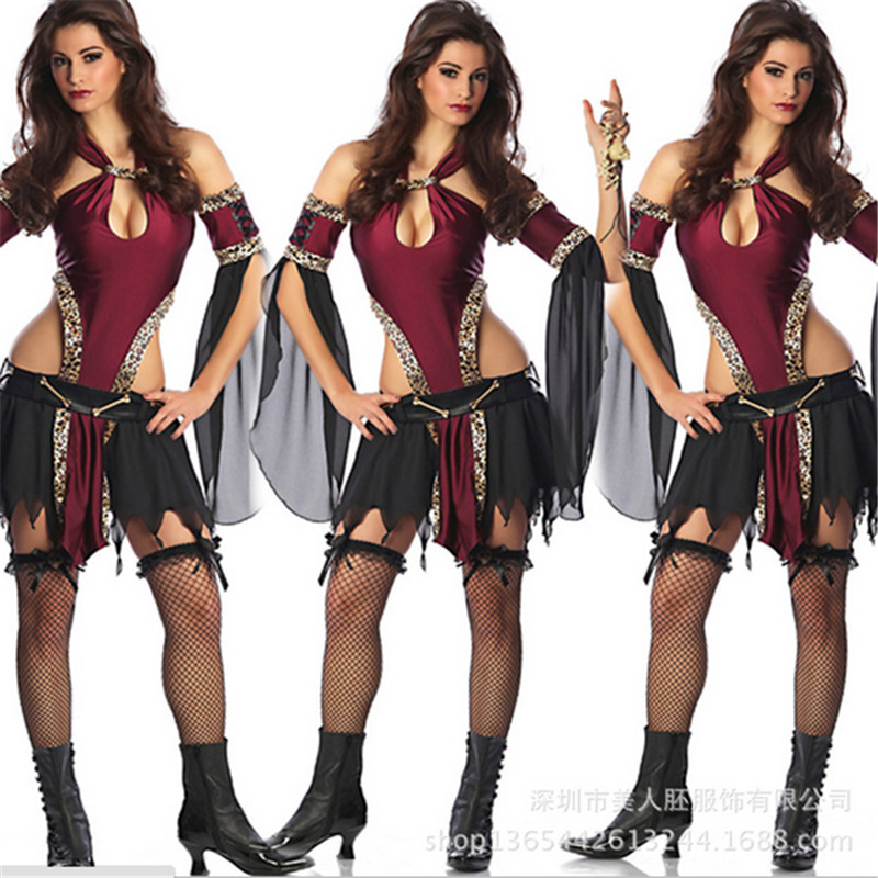 2018 New high quality <font><b>Halloween</b></font> <font><b>Sexy</b></font> <font><b>Queen</b></font> costumes dancer role playing clothing prom party uniform Cleopatra cosplay costume image