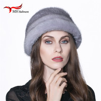 Подлинная Всего реального норки меховая шапка зимняя теплая натуральная кожа вся норки меховая шапка Для женщин Роскошные Skullies шапочки мод