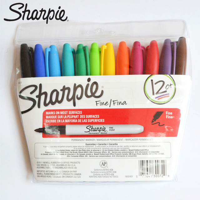 12pcs/set Sharpie Marker Pen Permanent Eco friendly 1mm Round Toe Marker Pen Painting Oily Pen