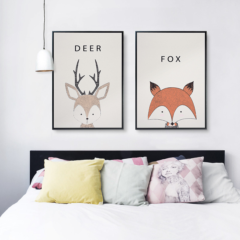 Cute cartoon owl deer fox porcupine nordic style wall for Collant mural hibou