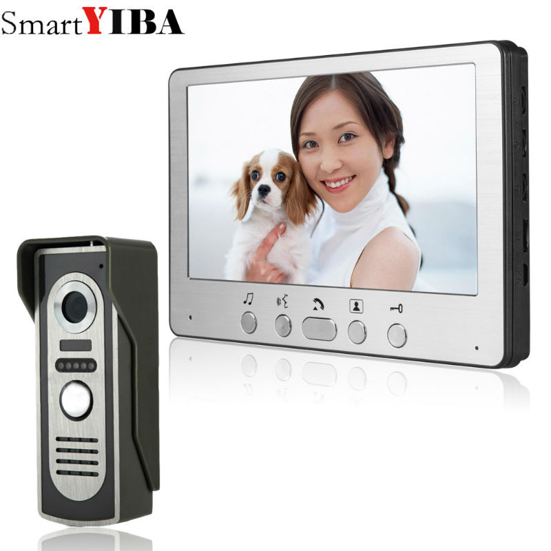 SmartYIBA 7 Wired Video Door Phone Home Security Intercom System Doorphone With Waterproof Outdoor IR Camera Night Vision 7 inch video doorbell tft lcd hd screen wired video doorphone for villa one monitor with one metal outdoor unit night vision