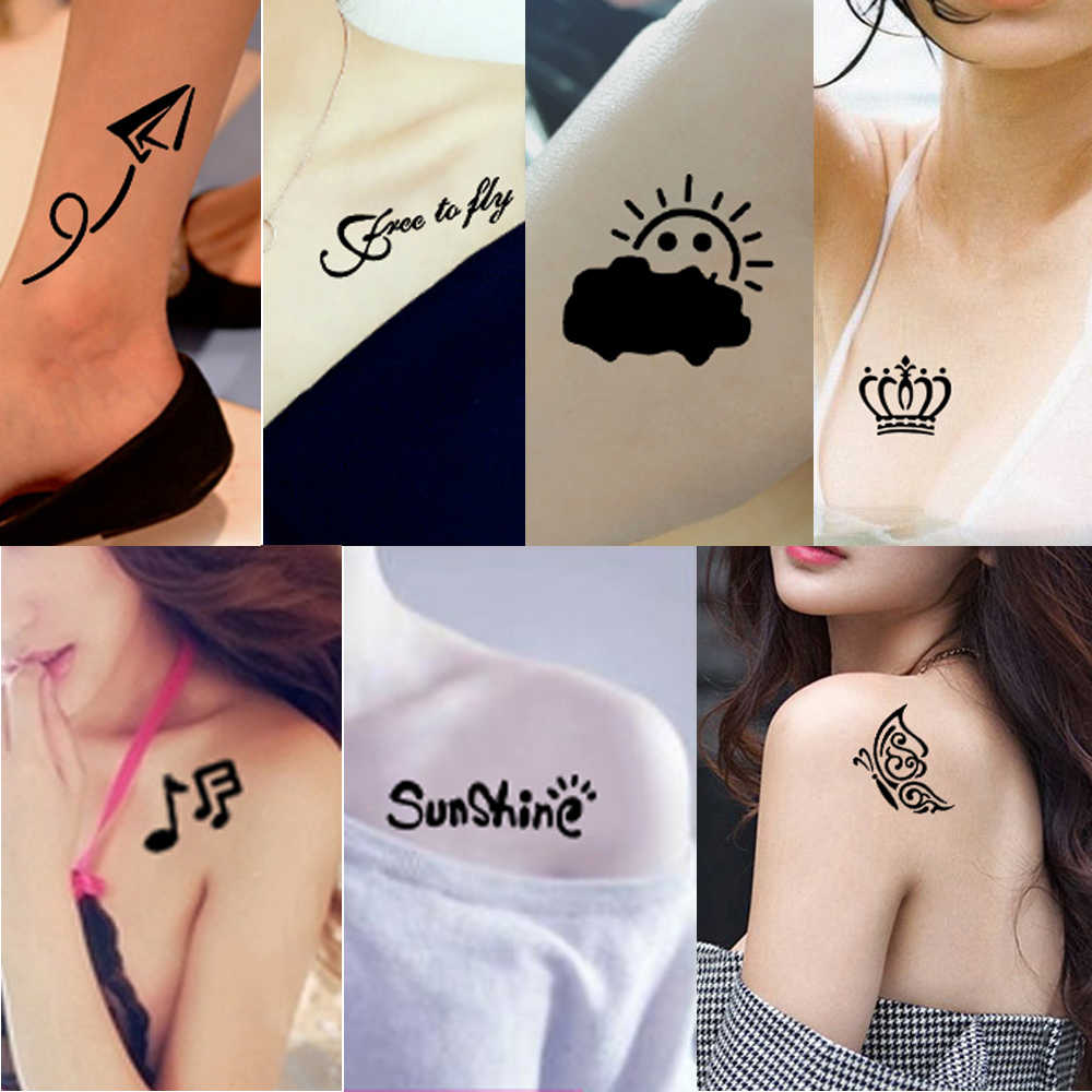 1 Sheet Body Art Henna Tattoo Stencil Word Self Improvement Meaning Design Waterproof India Tattoo Template For Diy Painting G36 Tattoo Band Tattoo Clothing For Womentattoo Blue Aliexpress