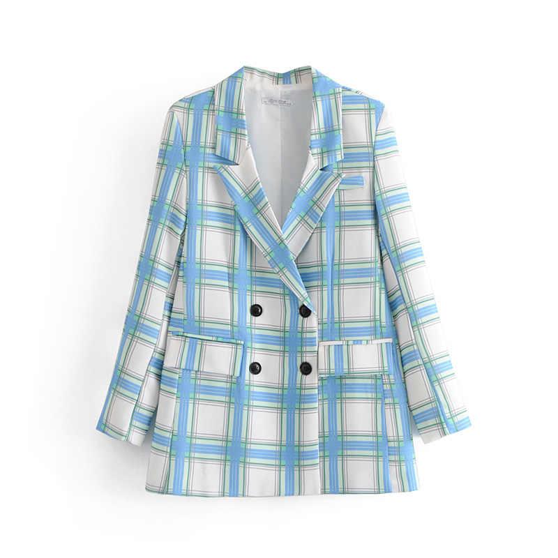 女性のスーツスーツオフィス長袖ダブルブレストチェック柄スーツのジャケットのズボンセットツーピース 2019 秋の新