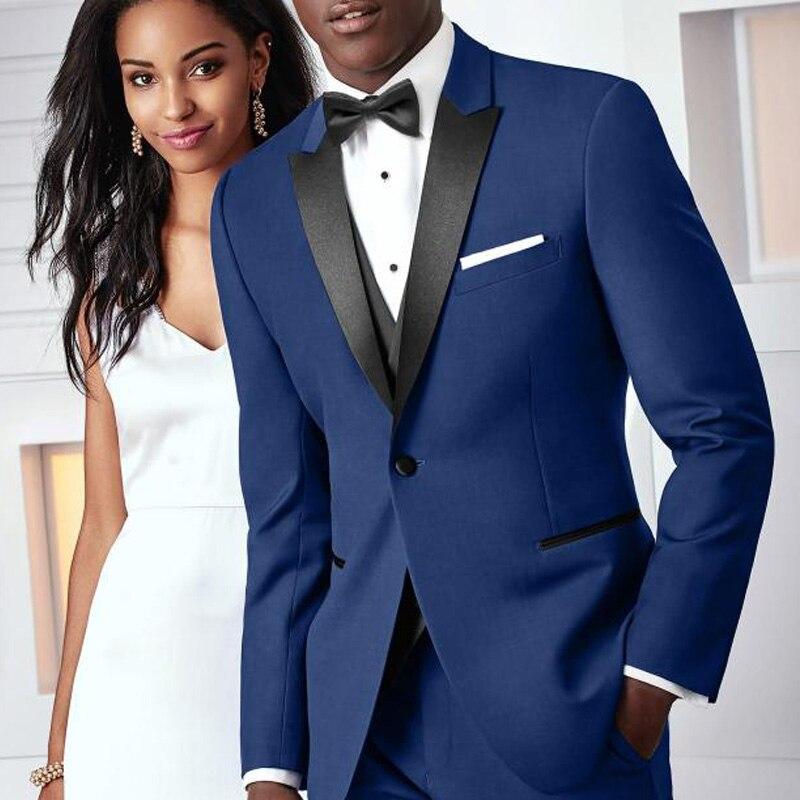 Erkek Kıyafeti'ten T. Elbise'de Kraliyet Mavi Düğün Groomsmen Smokin Damat Erkek Giyim Siyah Doruğa Yaka 3 Parça Iş Balo Erkek Takım Elbise Ceket Pantolon yelek'da  Grup 1