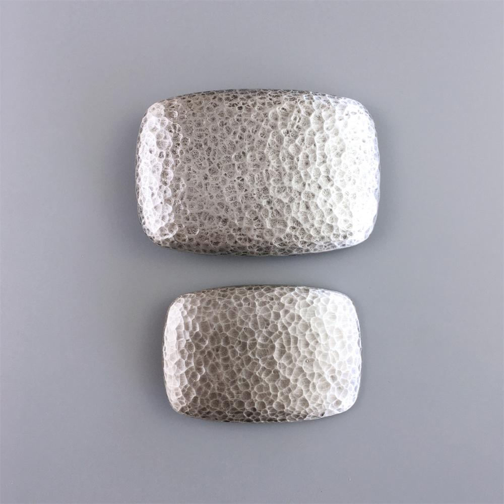 New Original Vintage Silver Plated Hammer Forged Rectangle Belt Buckle Large Size Small Size Choices
