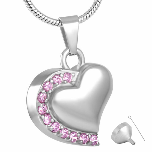 Cancer Awareness Heart Urn Necklace