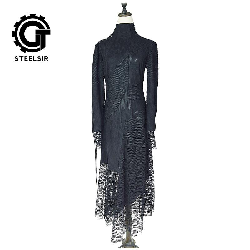 Gothique Longues Constumen Automne Creux Partie Femmes Taille Cou Fantaisie Élégant Maille Noble Robes Halloween Robe Haute Plus Résille La 5UCaqwCA