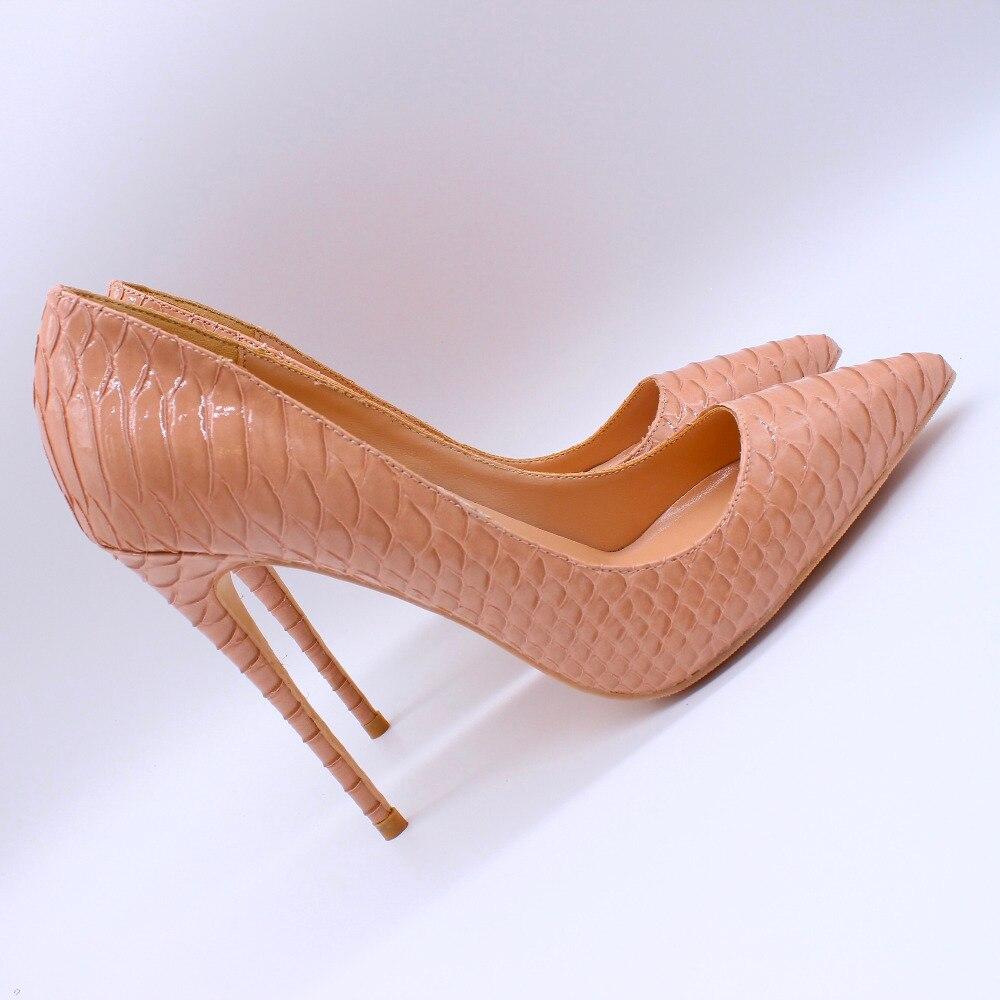 무료 배송 패션 여성 펌프 레이디 누드 스네이크 파이썬 뾰족한 발가락 하이힐 신발 size33 43 12 cm 10 cm 8 cm 스틸 레토 힐-에서여성용 펌프부터 신발 의  그룹 1