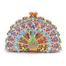 Neue luxus clutch frauen tasche mode pfau geldbörse handtasche weiblichen abendtaschen rote umhängetasche damen bolso sac ein haupt Q34