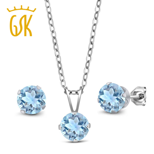 US $67 19 20% OFF Aliexpress com : Buy GemStoneKing 2 25 Ct Round Natural  Sky Blue Aquamarine Wedding Jewelry Sets for Brides 925 Sterling Silver