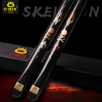 Original O'Min The Skull 9.8 10mm Tip One Piece Snooker Cue 3/4 Split Cue Professional Ash wood Shaft High Ranking Ebony Butt