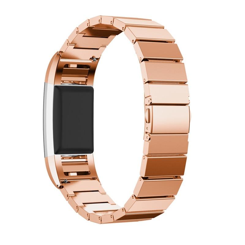 где купить  Rose Gold&Black&Gold&Silver Luxury Genuine Stainless Steel Bracelet Smart Watch Band Strap For Fitbit Charge 2 Correa Reloj  по лучшей цене