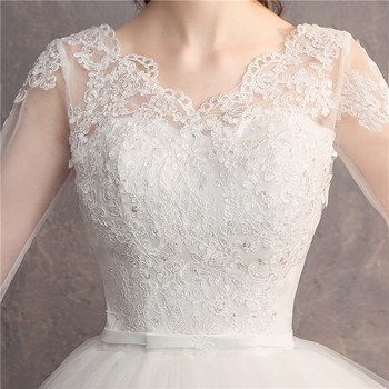 Do Dower Lace Embroidery Half Sleeve 2019 Wedding Dresses Long Train Wedding Gown V Neck Elegant Plus Size Vestido De Noiva 5
