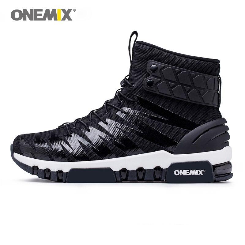 ONEMIX hommes bottes chaussures de course pour femmes sneakers high top bottes pour en plein air de marche de course trekking chaussure grande taille