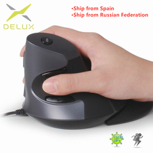 Delux M618 Ergonomic Office Vertical Mouse 6 Buttons 600/1000/1600 DPI Optical Right Hand Mice with Wrist mat [Ships From RU]
