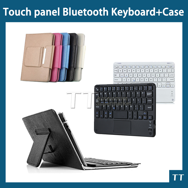 Universal Ultra Slim wireless bluetooth Keyboard with touchpad case For Android PC For Windows For 7 8 inch tablet pc bluetooth keyboard touchpad russian language english pu case cover universal 9 10 tablet pc for android windows ios