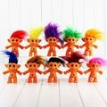 10 Colors 10cm Trolls Doll Leprocauns Dam dolls Kids Toys PVC Kids Christmas Gift