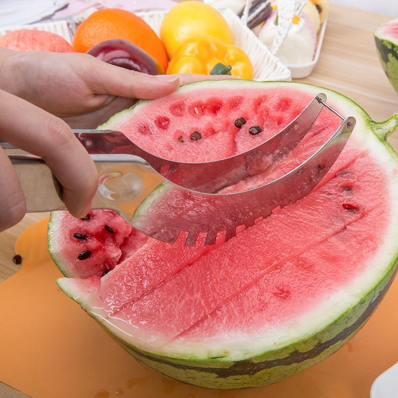 Silver Stainless Steel Watermelon Slicer Fruit Peeler Cantaloupe Cutter Splitter