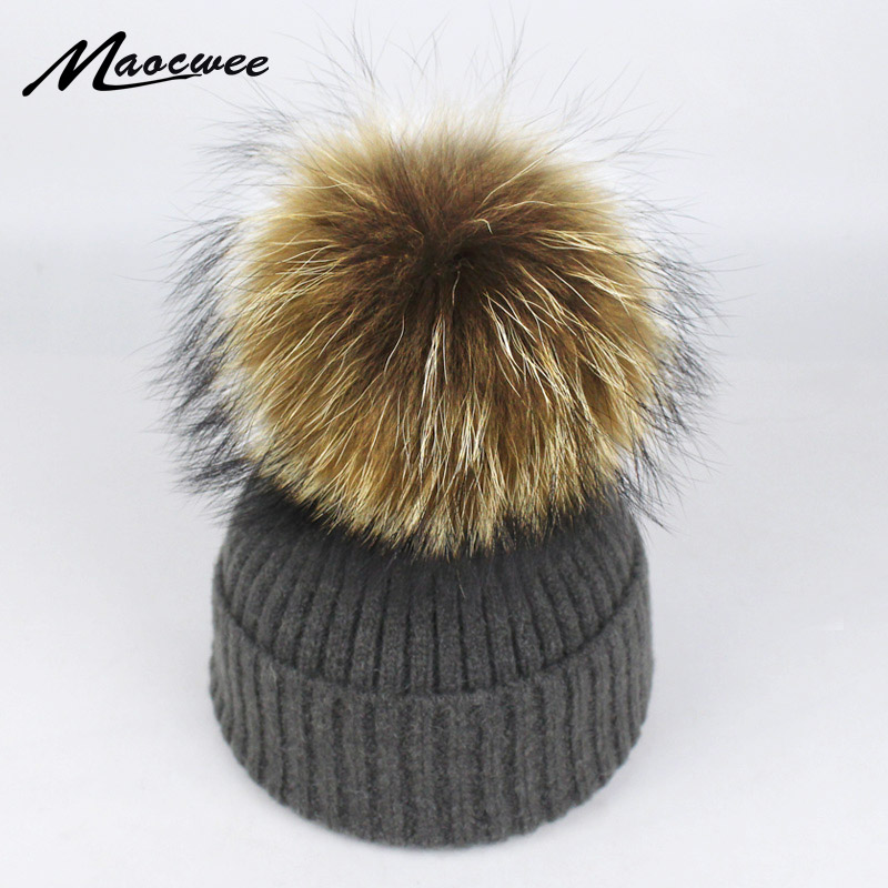 New Hat Female Classic Knitted Raccoon Fur Pom Poms Women Cap Headdress Head Warmer Women's Winter Hats   Skullies     Beanies