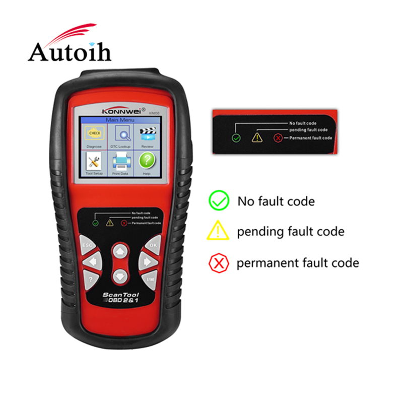 KONNWEI KW830 OBD2/ EOBD Auto Scanner Fault Code Reader Diagnostic tool Car detector 2016 new arrival vs 890 obd2 car scanner scantool obdii code reader tester diagnostic tools 3 inch lcd car detector