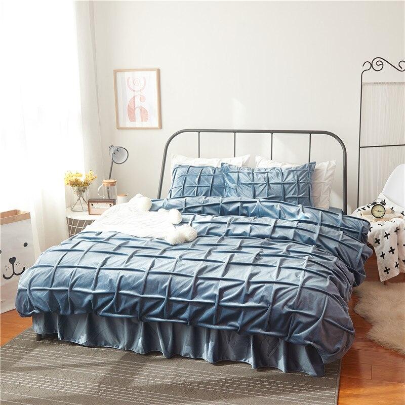 Зимний флисовый теплый комплект постельного белья, мануальный плед, фланелевый пододеяльник, комплект для кровати, юбка, стеганый тонкий ма
