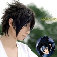 MCOSER Free shipping Naruto-Uchiha Sasuke short  Black cool male Cosplay Costume Wig