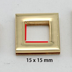 15x15 mm high quality Gold Rectangle Alloying Grommet Screw Purse Eyelet 50pcs/lot
