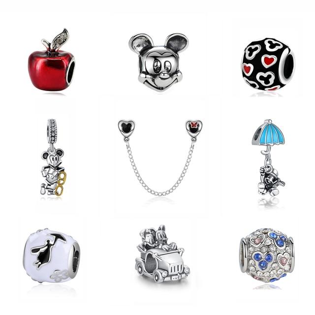 Chapado en plata del encanto del grano de Mickey Minnie vestido de princesa colgante Original granos de los encantos de Pandora pulseras de las mujeres de la joyería de Diy