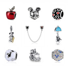 a86ff75898de Chapado en plata del encanto del grano de Mickey Minnie vestido de princesa  colgante Original granos
