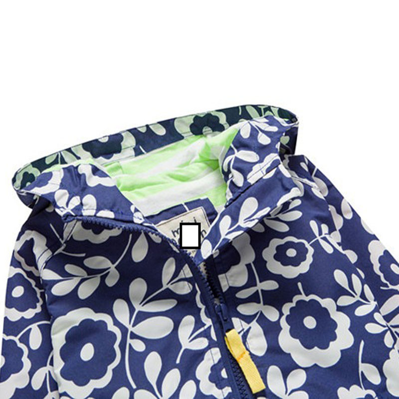 Girl windbreaker coat spring and autumn new European cotton lining children  in the children's card Blue print flower - Best Kids Clothing Stores