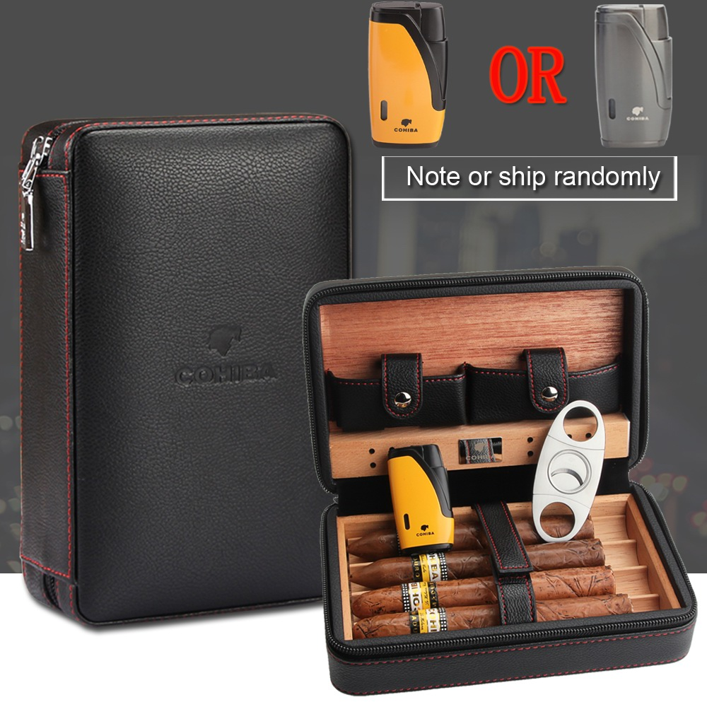 COHIBA Cedar Wood Cigar Humidor Travel Portable Leather Cigar Case Cigars Box With Lighter Cutter Humidifier Humidor Box wood