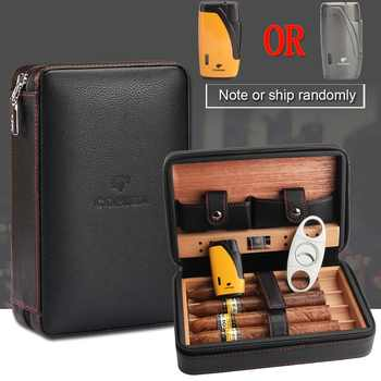 COHIBA Cedar Wood Cigar Humidor Travel Portable Leather Cigar Case Cigars Box With Lighter Cutter Humidifier Humidor Box - DISCOUNT ITEM  37% OFF All Category