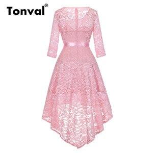 Image 4 - Tonval Vintage Navy Blue Lace Robe Dress Women 2/3 Sleeve High Low Hem Elegant Dresses Party Midi Autumn Dress