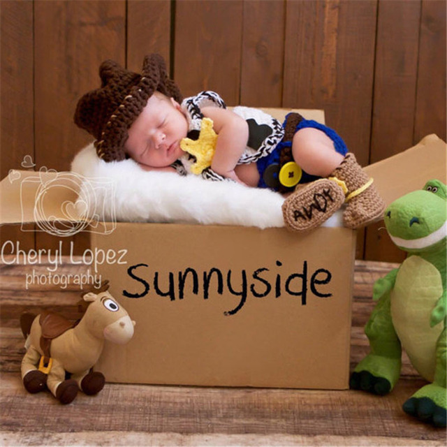 e255eb09049 Crochet Newborn Baby Cowboy Outfit Baby Boy Photo Props Cowboy Boots Hat  and Diaper Cover with Vest 5 Pieces Set H253