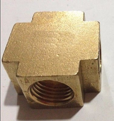 Cross 4 Way Brass Pipe fitting Equal Female Connector 3/8 BSP Thread For Grease System hydraulic system